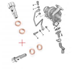 Vis banjos + joints tuyau alimentation huile turbo pour Citroën Ford Mazda Mini Peugeot Volvo 1.6 HDI TDCI