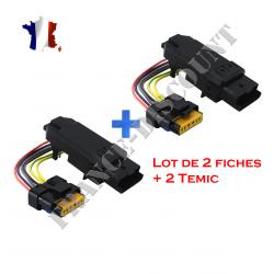 Lot de 2 Modules temic avec faisceau câble prise de lève vitre électrique Renault Clio 3 Espace 4 Laguna 2 Megane 2 Scénic 2