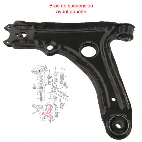 Bras de suspension, triangle avant droit pour VOLKSWAGEN Golf 3 - Vento