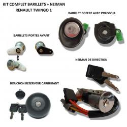 Kit complet de barillets de coffre + bouchon carburant + serrure porte avant + neiman pour Renault Twingo de 1993 à 2000