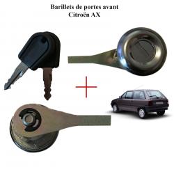 Lot de 2 Barillets de porte avant avec 2 clés pour Citroën AX de 1986 à 1991