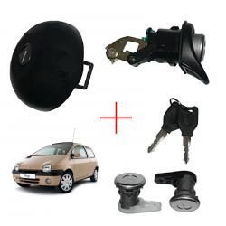 Kit serrures hayon poussoir + serrure porte avant + bouchon réservoir pour Renault Twingo de 1993 à 2000