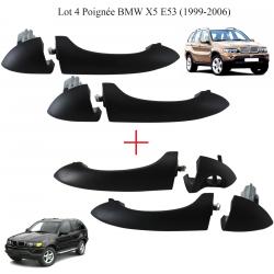 Lot de 4 poignées extérieure de porte avant arrière gauche et droite pour BMW Série X5 (E53) de 2000 à 2006