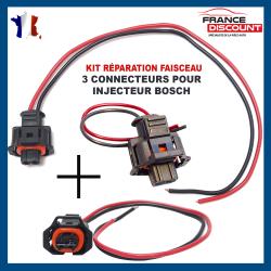 (Lot de 3) Réparation Faisceau de Câblage Fiche Câbles Electrique et Connecteur Injecteur BOSCH (Toute Marque/Modèle Véhicules)
