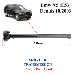 Arbre de transmission longitudinal pour le pont AVANT de BMW X5 E53 depuis 2003. Arbre de transmission sans retour de consigne