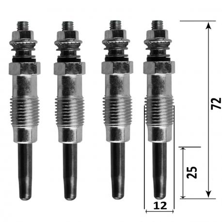 pack de 4 bougies de préchauffage pour Peugeot, Citroën, Renault et Mercedes (différents modèles à voir dans la fiche)